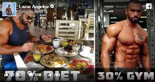 Per rimettersi in forma Lazar Angelov consiglia 70 percento dieta 30 percento palestra