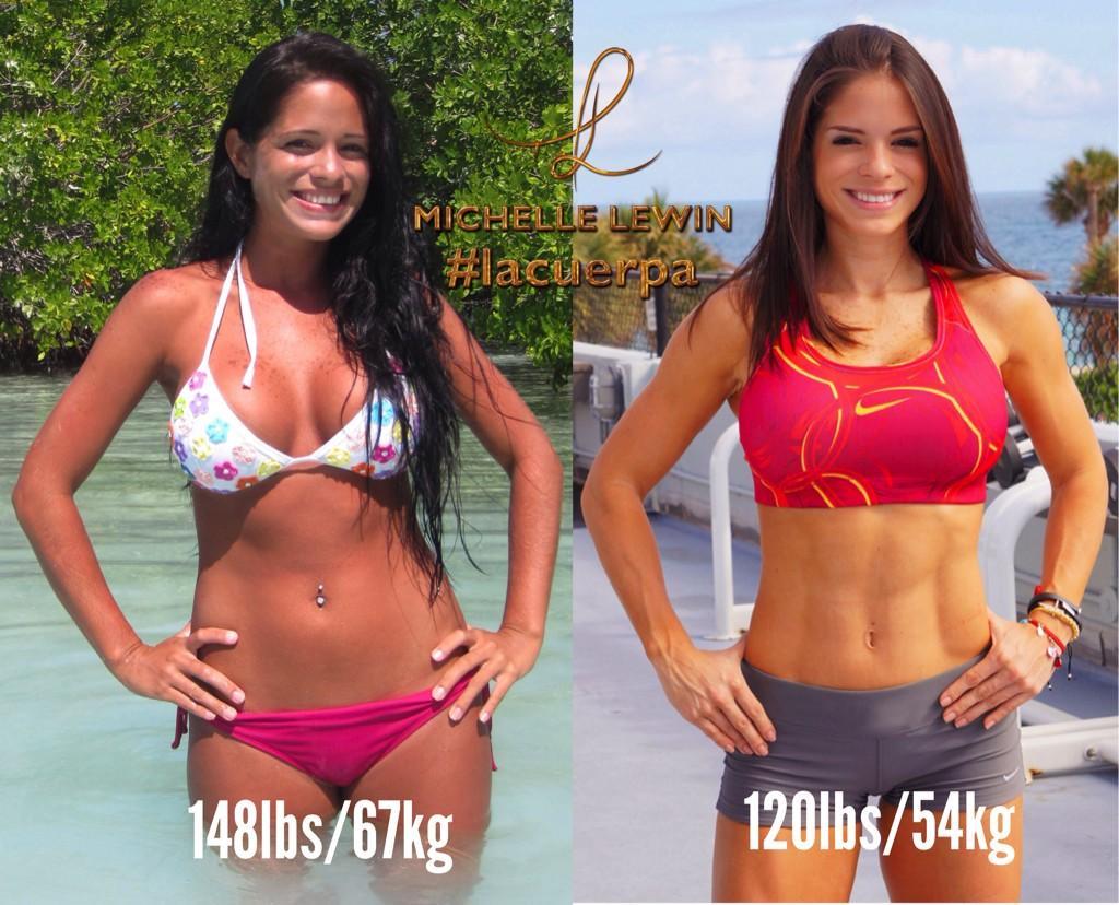 Michelle Lewin prima e dopo 67kg-54kg