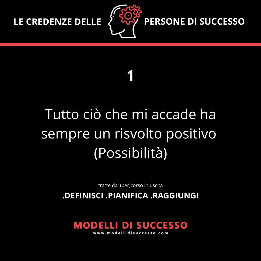 Tutto ciò che mi accade ha sempre un risvolto positivo (Possibilità) - Convinzioni: le 6 credenze potenzianti delle persone di successo - Modelli di Successo