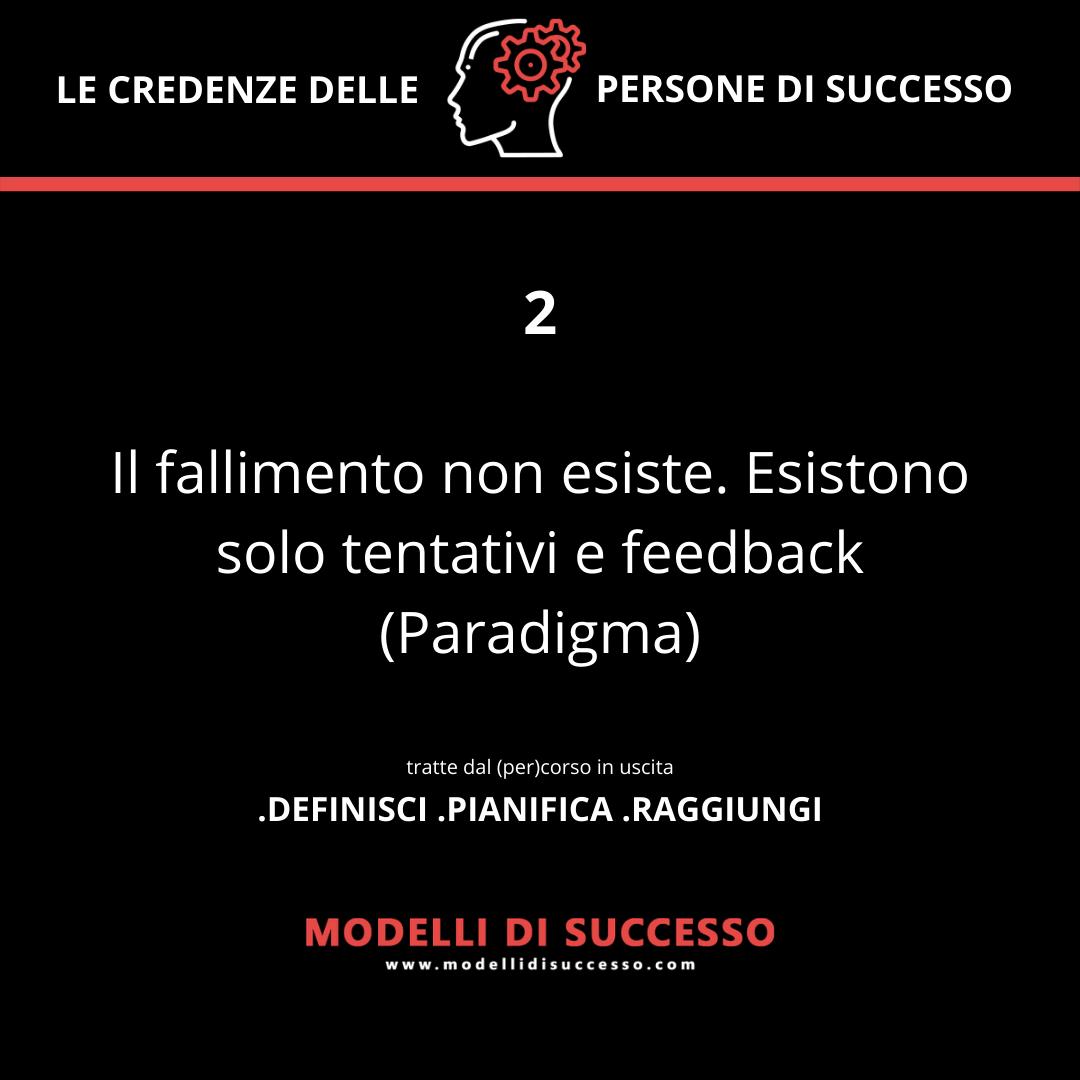 Il fallimento non esiste. Esistono solo tentativi e feedback (Paradigma) - Convinzioni: le 6 credenze potenzianti delle persone di successo - Modelli di Successo
